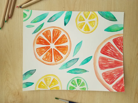 citrus watercolor how to tutorial angelalendz