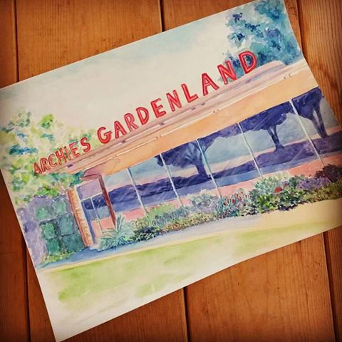 archie's gardenland fort worth angelalendz watercolor painting