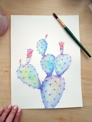 Prickly Pear Cactus Watercolor Tutorial angelalendz