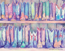 Load image into Gallery viewer, Boot Store: print of my original cowboy boots painting