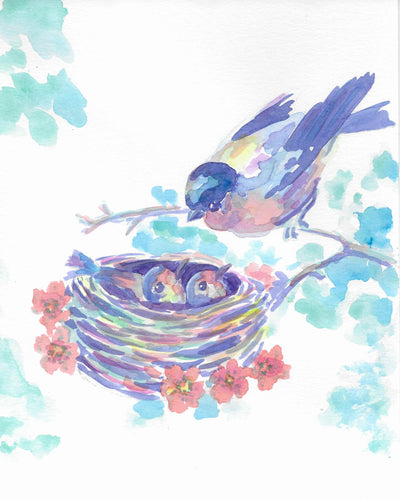 Mother Bird and Baby Birds: Print of my Original Watercolor Painting