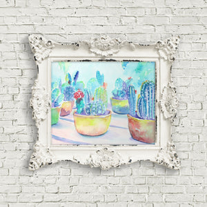 Cactus Pots: Print of my Original Watercolor Painting