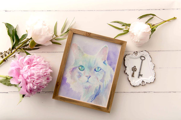 Custom Pet Cat Watercolor Painting