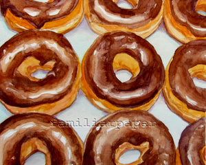 Chocolate Donuts: Print of my Original Watercolor Painting