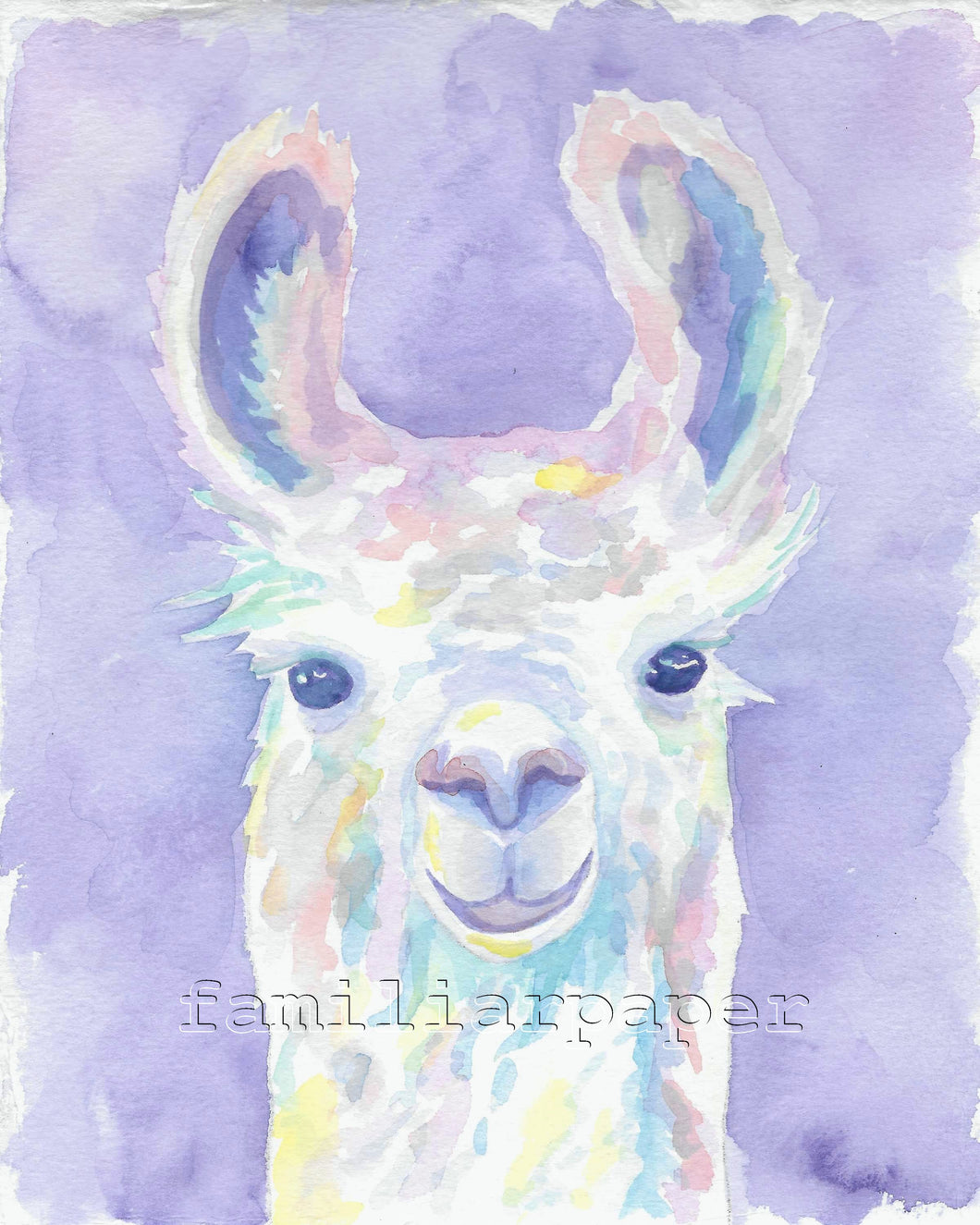 Sweet Llama: Print of my Original Watercolor Painting