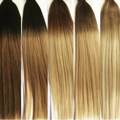 The Ombre Blend collection begins with a dark root for approximately 2-4 inches and then fades to the lighter body color.