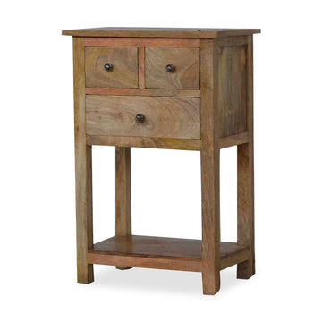 Mango Wood Side Table with three drawers