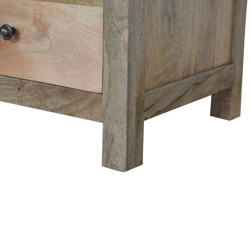 Handmade Mango Wood Side Table Set with Three Drawers