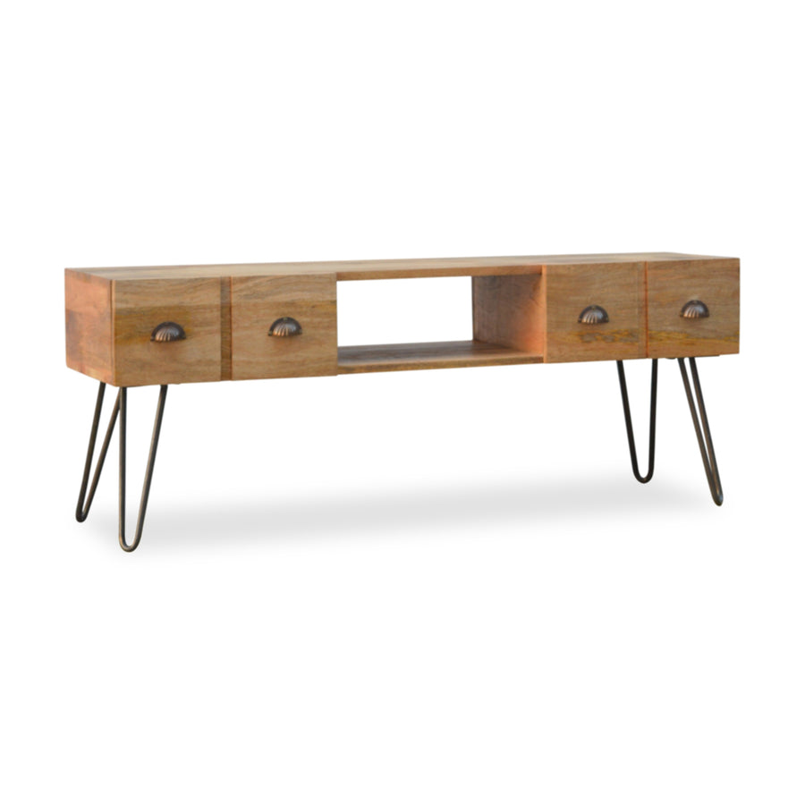 Industrial Style Metal and Wood TV Stand