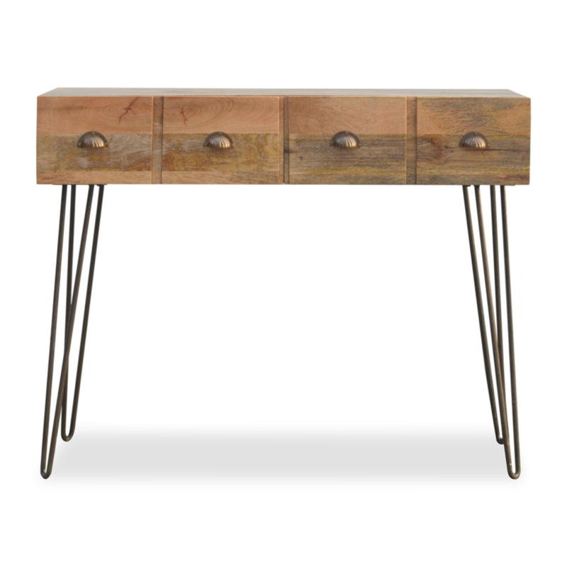 Industrial Style Metal and Wood Console Table
