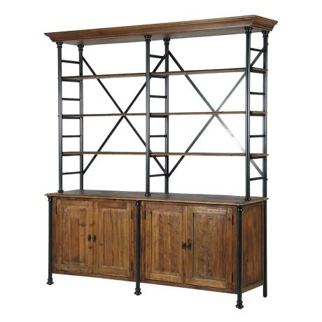 Industrial Open Rack 4 Door Dresser