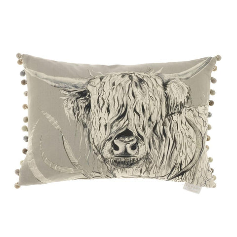Highland Cow Rudy Silver Cushion