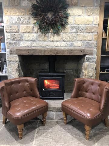 Leather fire side chair