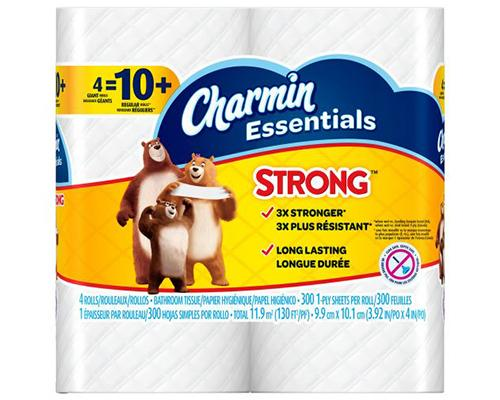 Charmin Essentials Toilet Paper Strong - Giant Rolls 4 ct