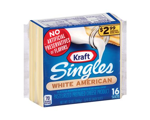Kraft Singles White American - 16 Slices
