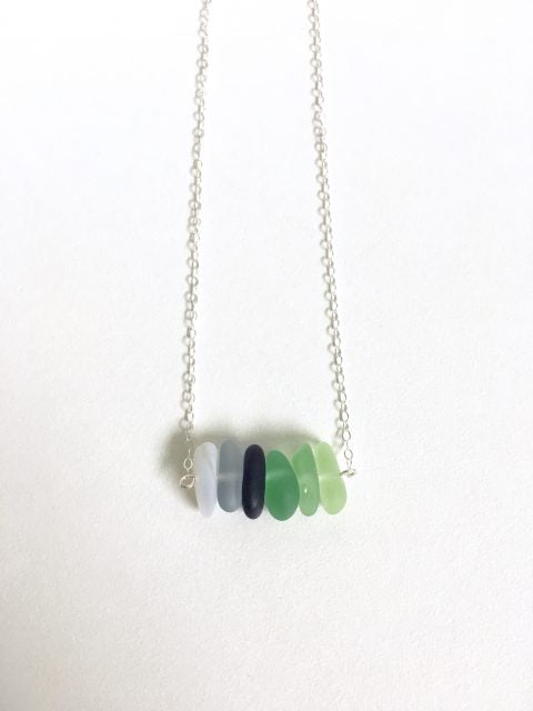 Monterey Otter Sea Glass Bar Necklace