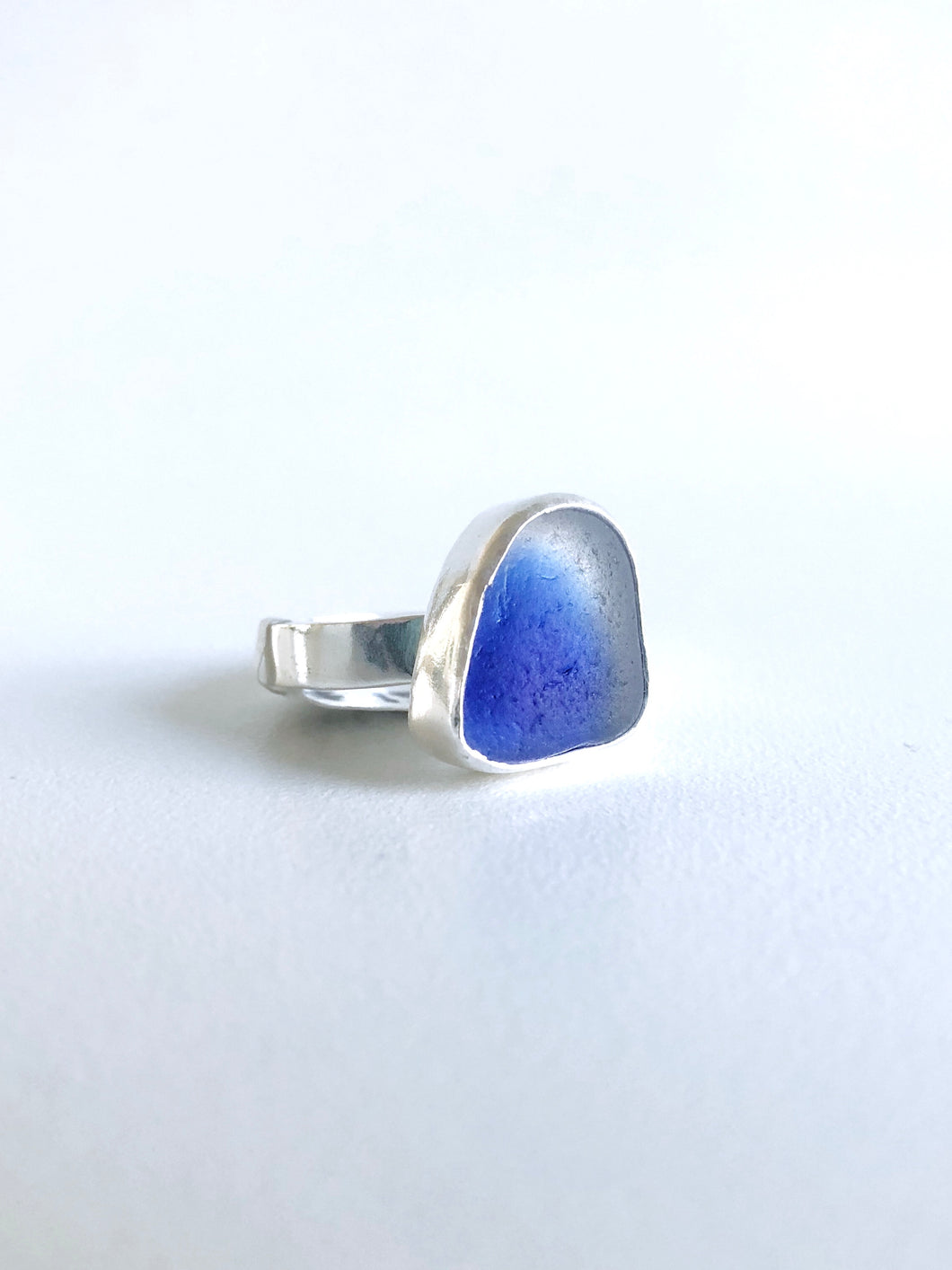 Blue Ghost Sea Glass Ring
