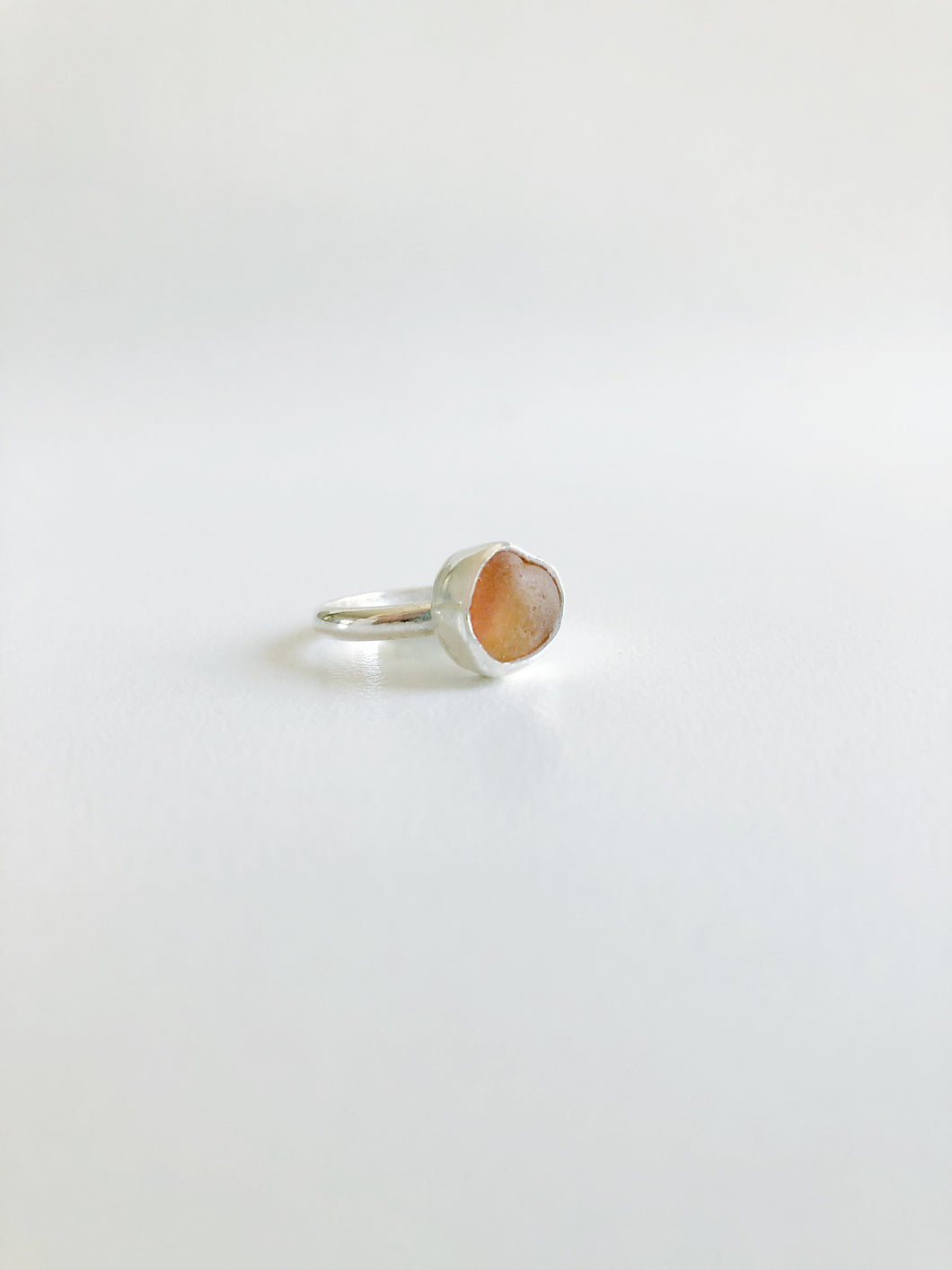 Golden Sunset Orange Sea Glass Ring