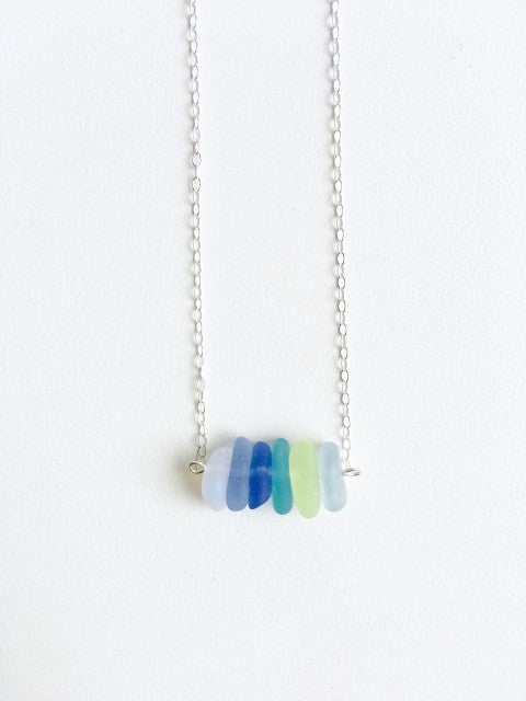 Nautical Night Sea Glass Bar Necklace