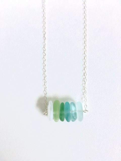 Santa Cruz Harbor Sea Glass Bar Necklace