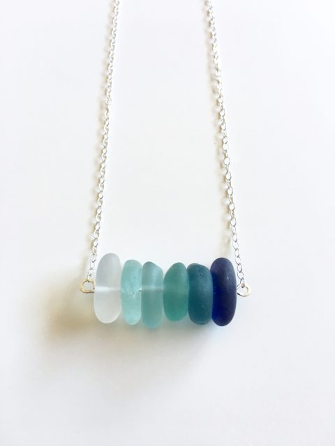 West Cliff Drive Sea Glass Bar Necklace