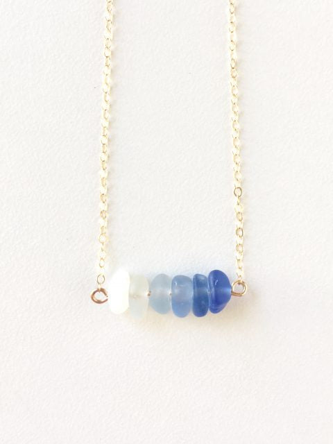 Monterey Bay Evening Sea Glass Bar Necklace