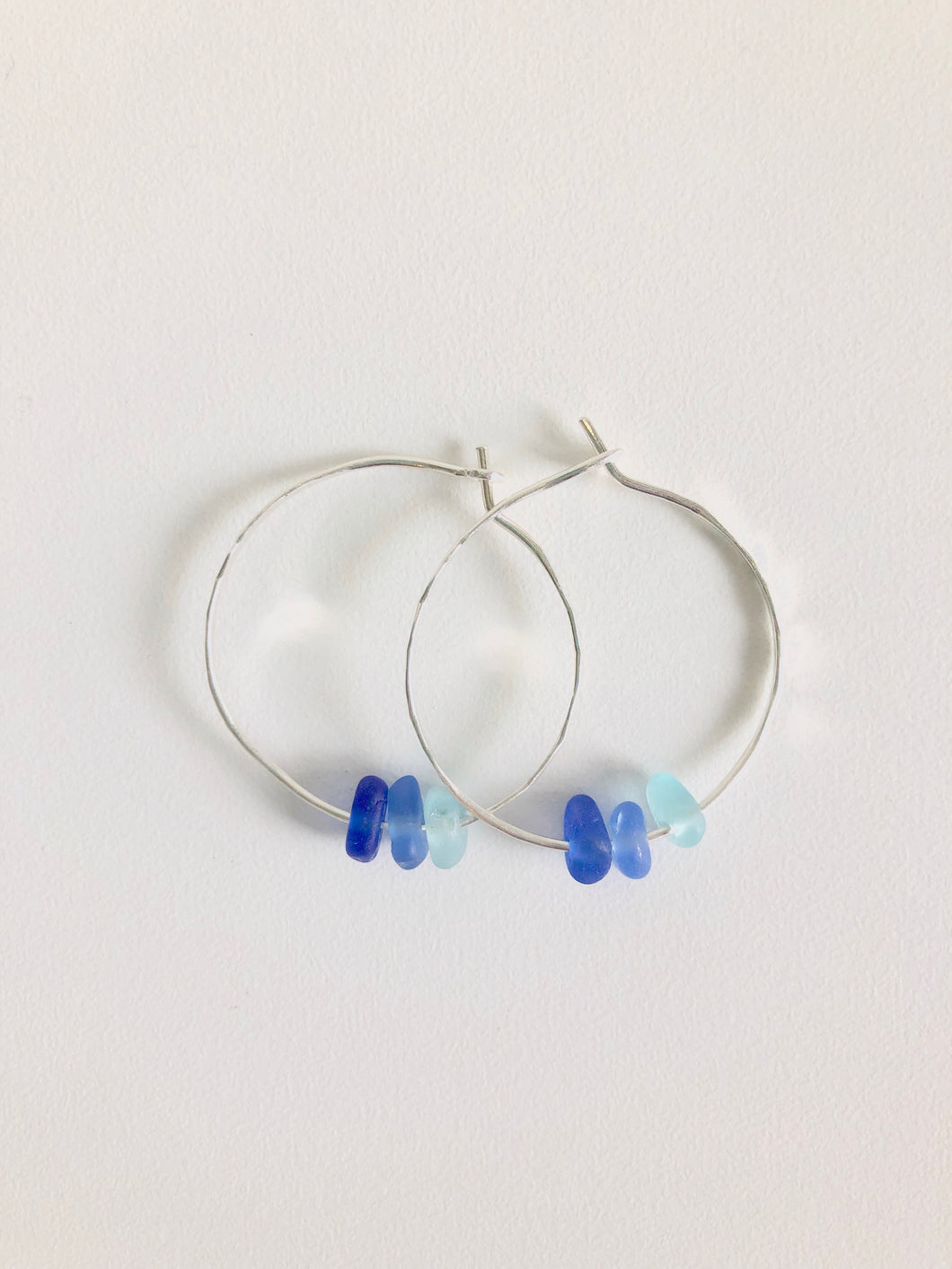 Shades of Blue Sea Glass Hoops