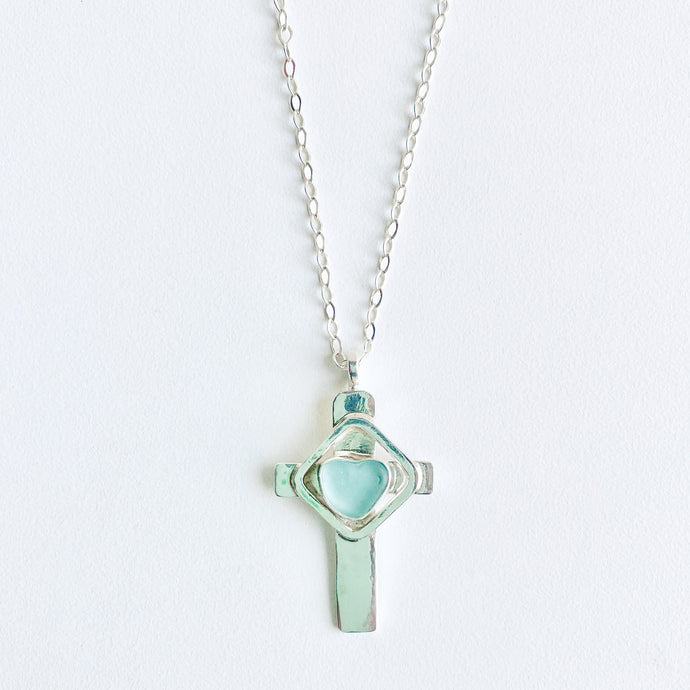 Sea Glass Cross Pendant Necklace