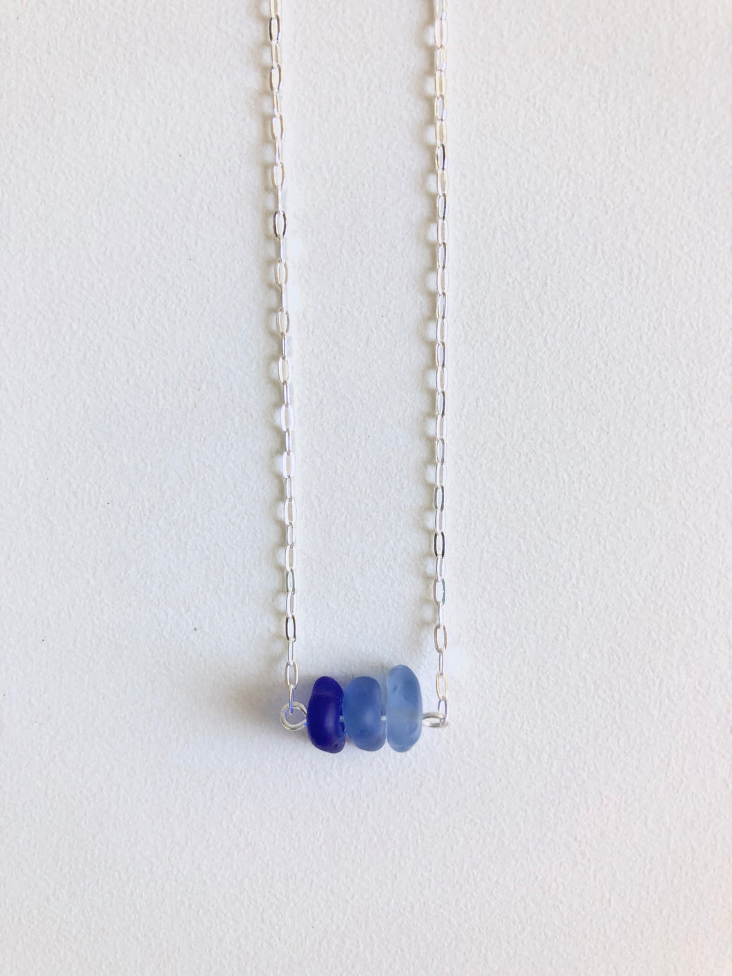 Cobalt Mini Sea Glass Bar Necklace