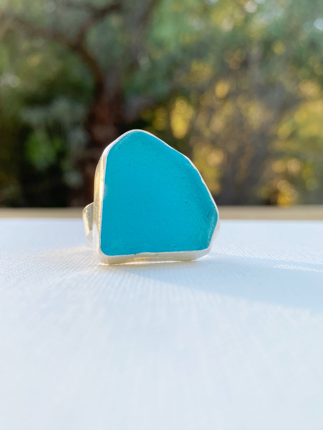 Electric Turquoise Blue Sea Glass Ring