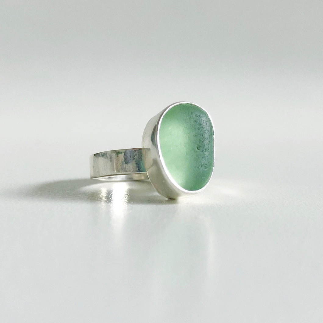 Spring Green Sea Glass Ring