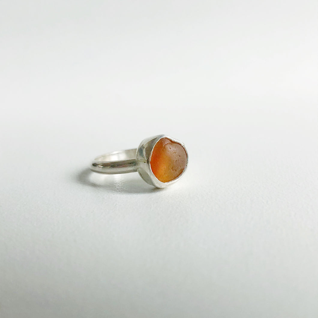 Orange sea glass ring