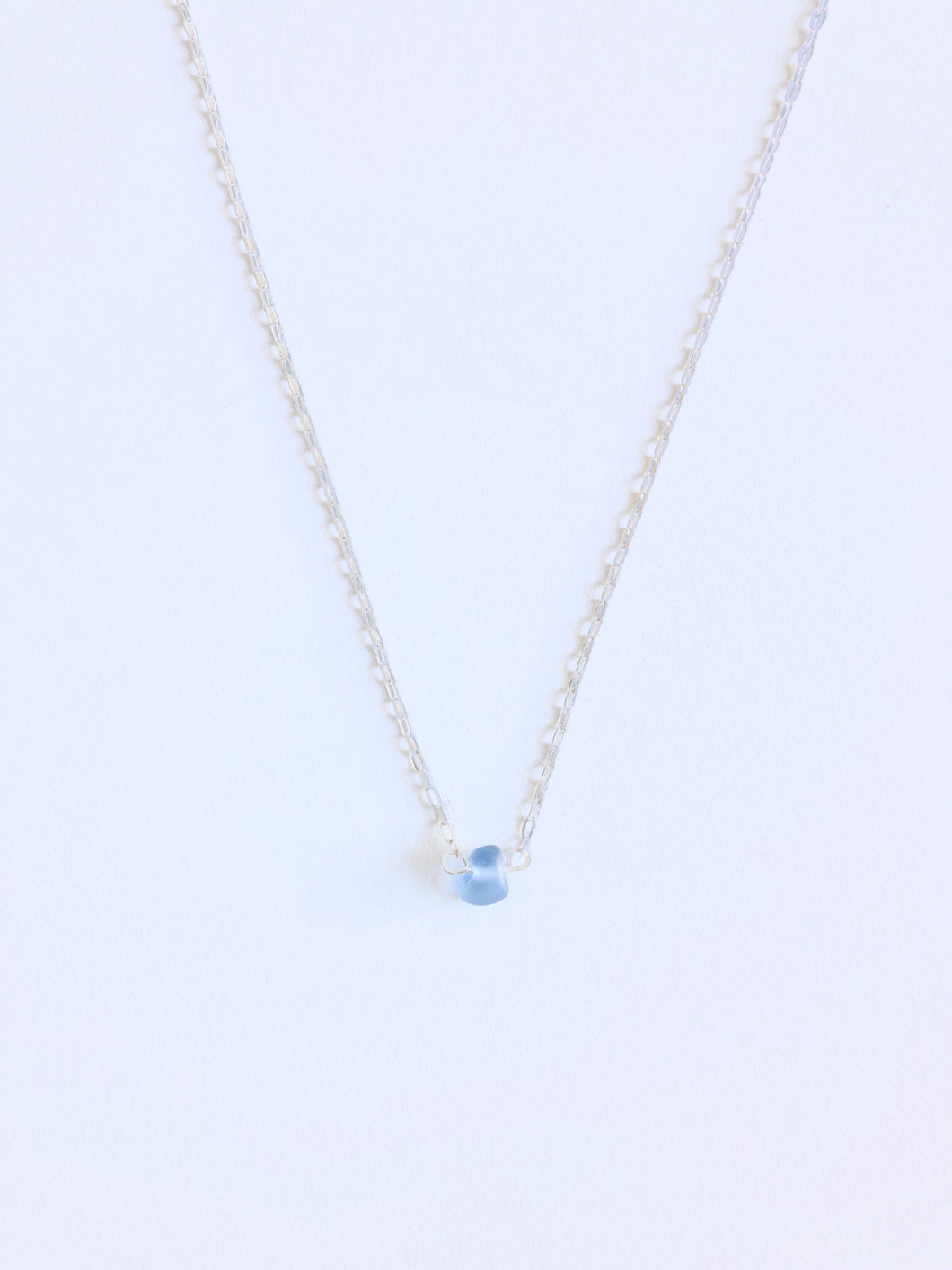 Cornflower Single Sea Glass Necklace