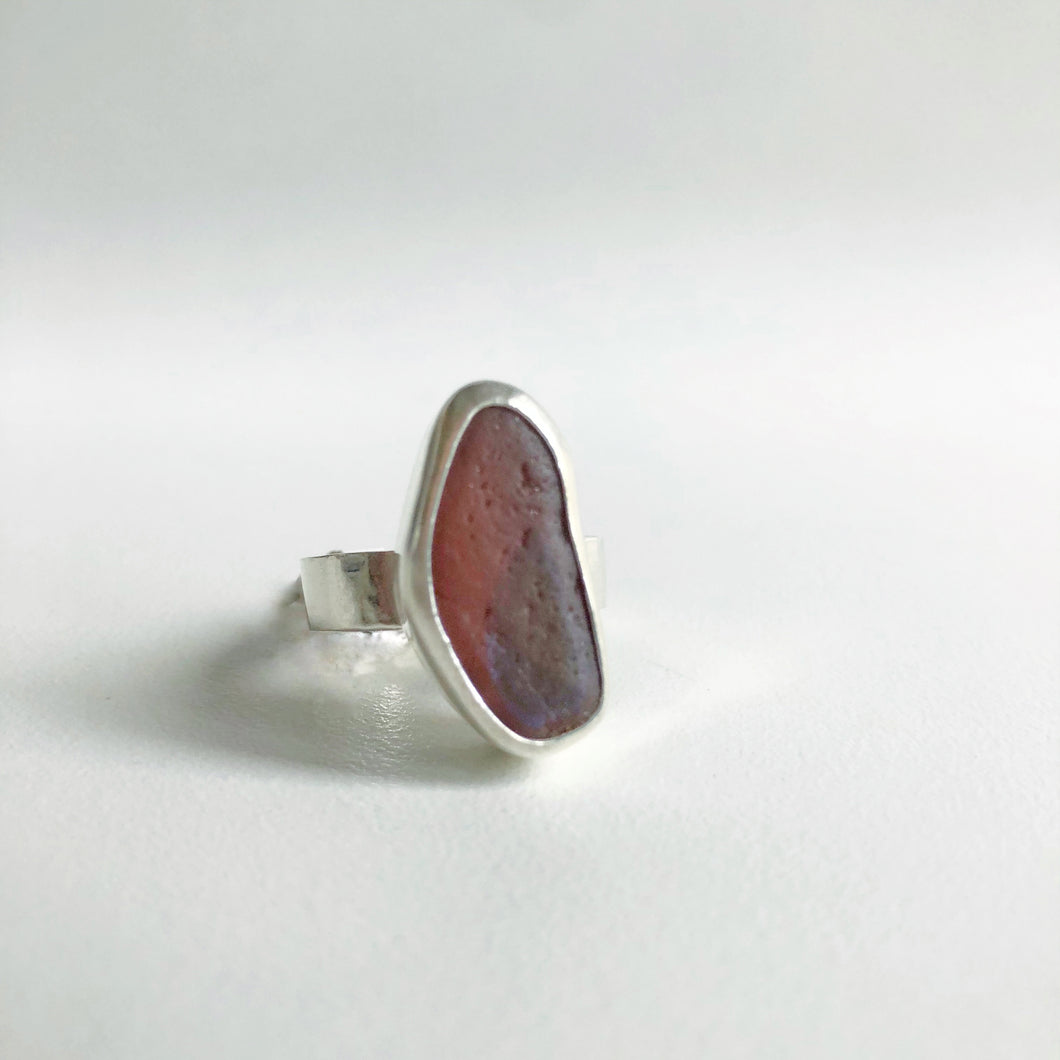 Orange and blue iridescent sea glass ring
