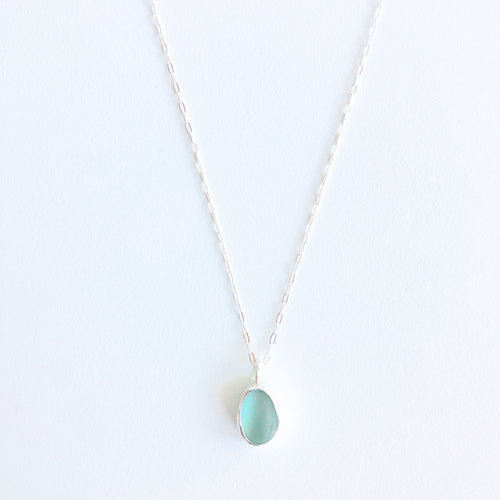 Drop of Saltwater Sea Glass Pendant Necklace