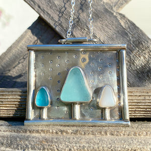 Let it Snow Sea Glass Tree Pendant Necklace