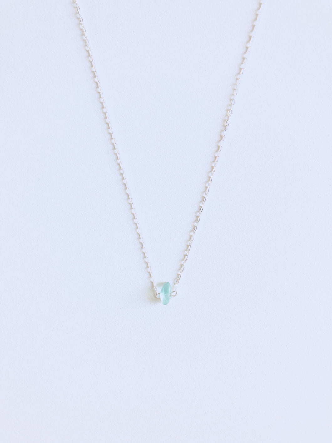 Aqua Single Sea Glass Necklace