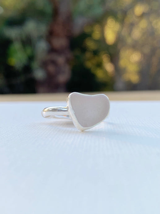 Small Pale Lavender Heart Shaped Sea Glass Ring