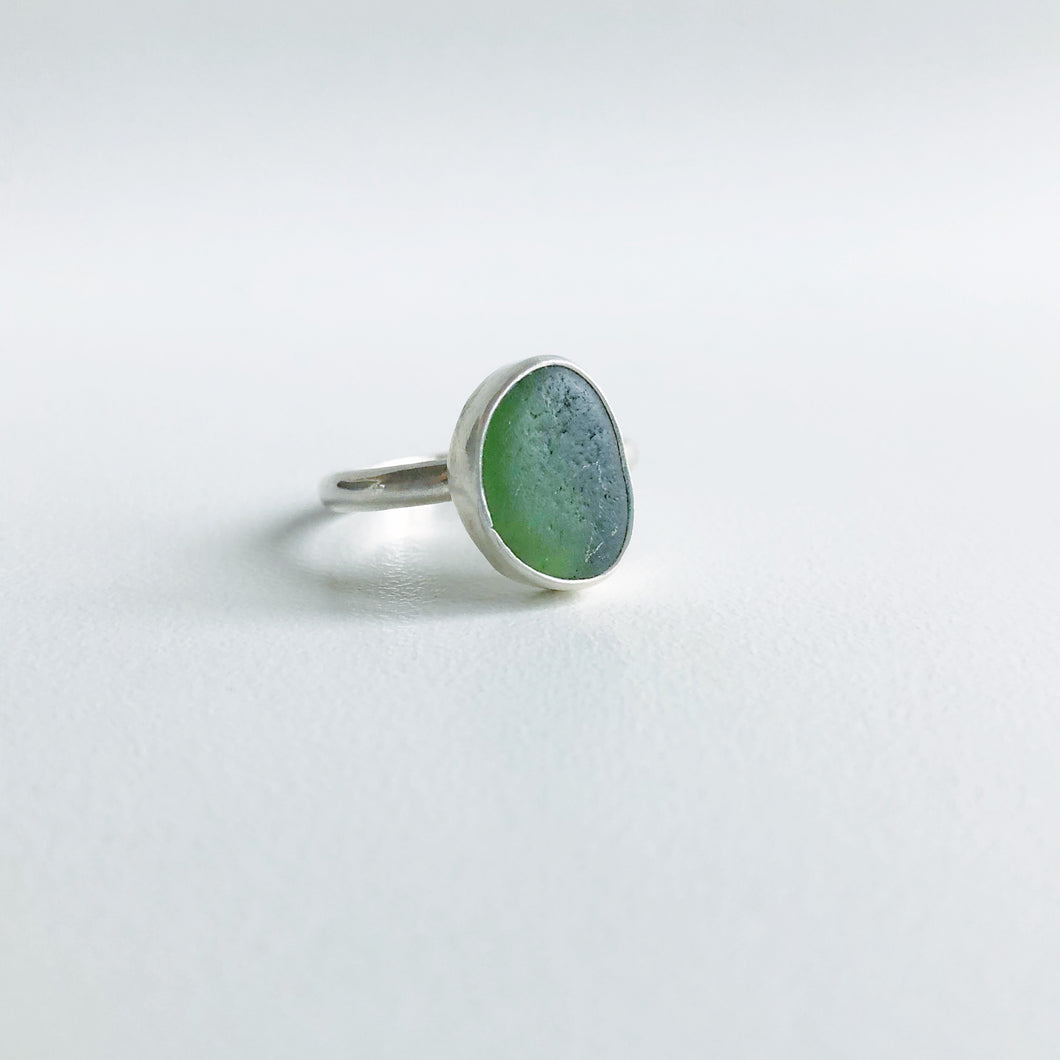 Mossy green Sea Glass Ring
