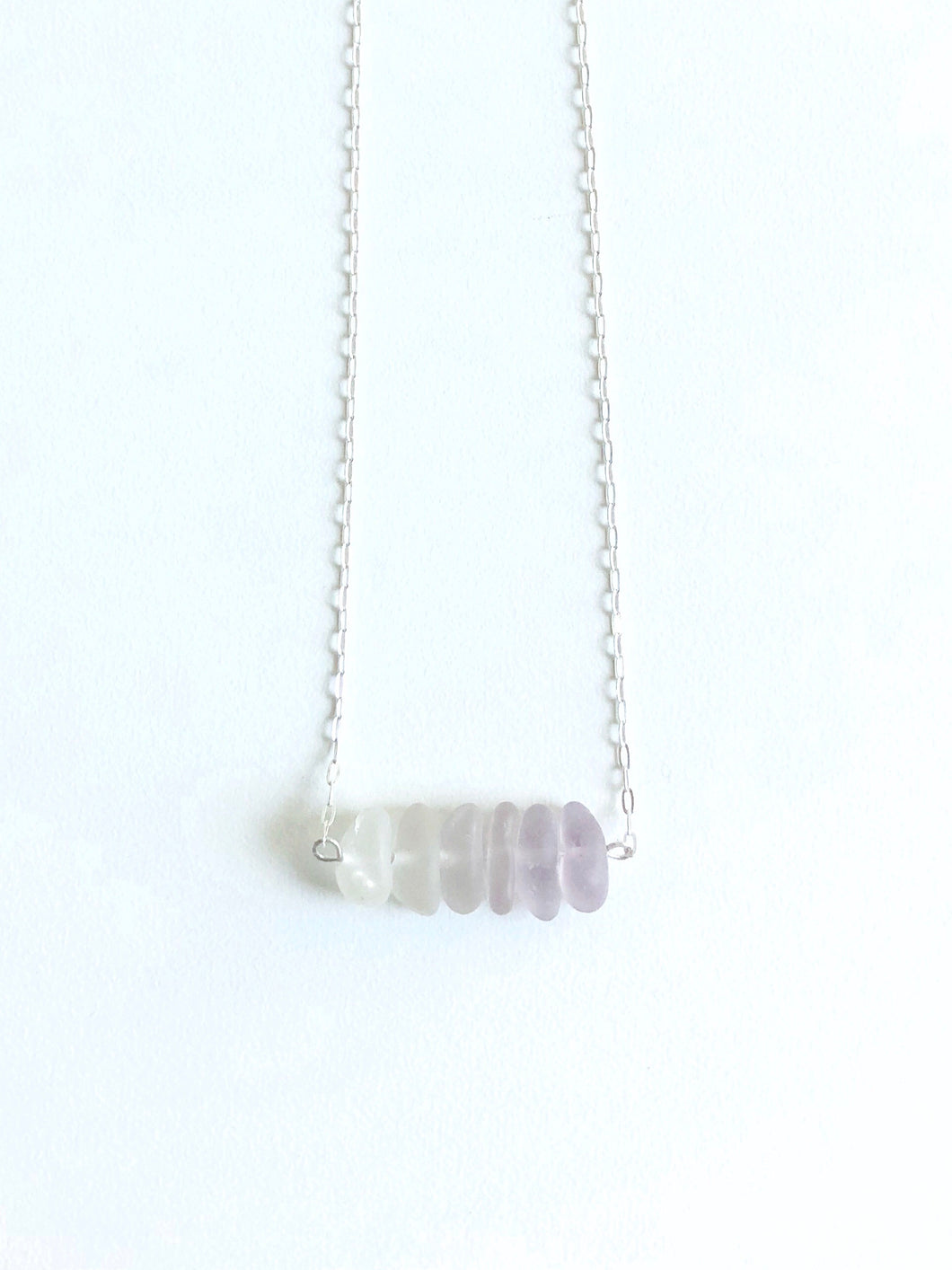 Lavender Dusk Sea Glass Bar Necklace