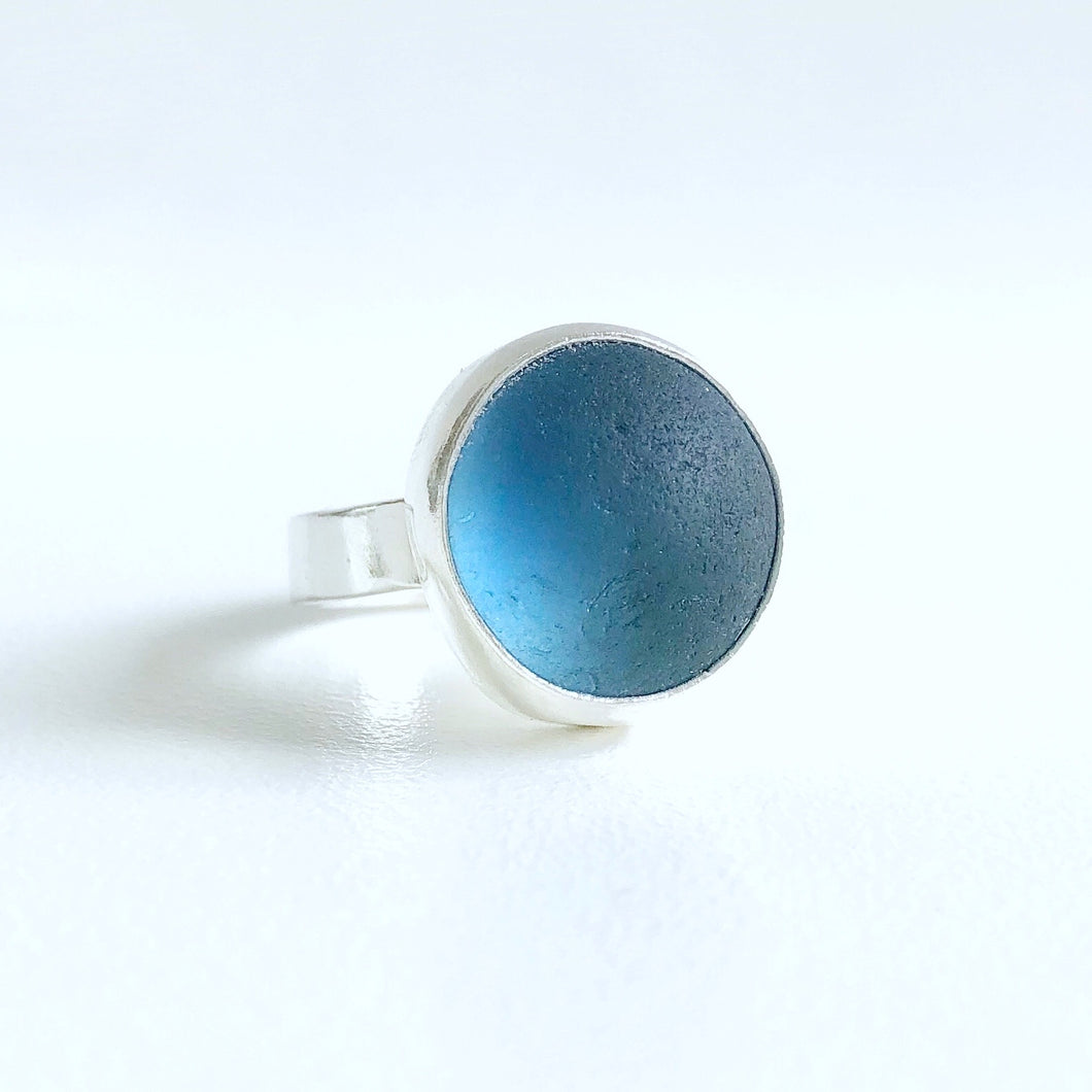 Sting Ray Blue Sea Glass Ring