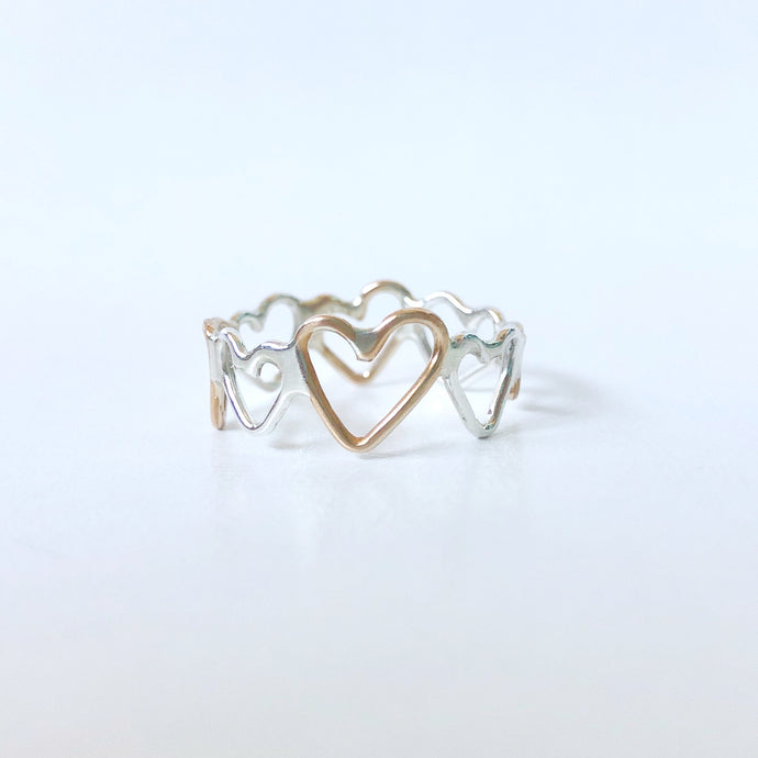 Silver and Gold Hearts Unite Ring