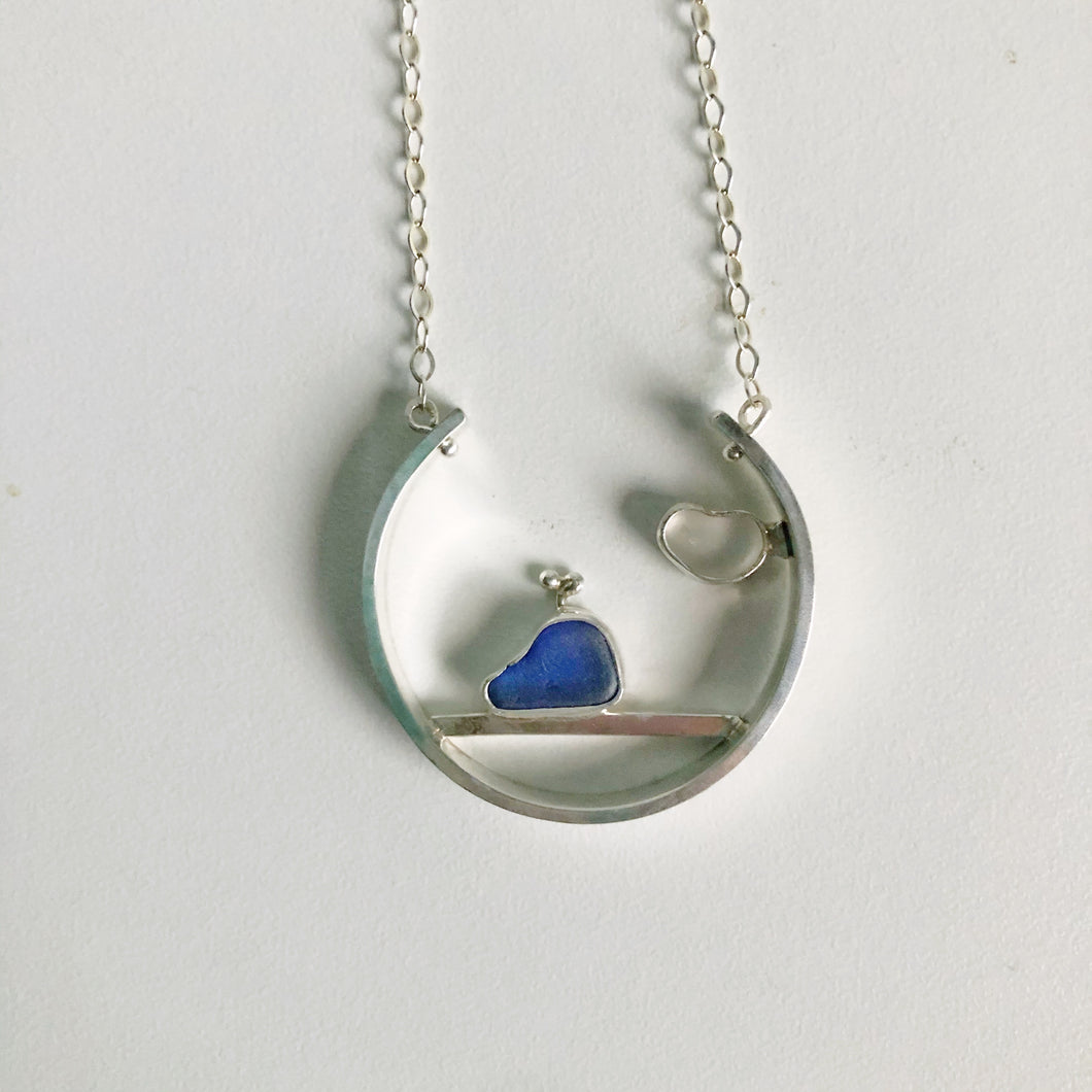 Blue Whale and heart Sea Glass Necklace Pendant