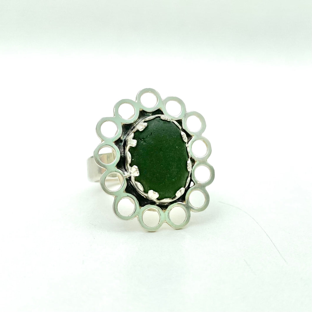 Green Scalloped Sea Glass Ring