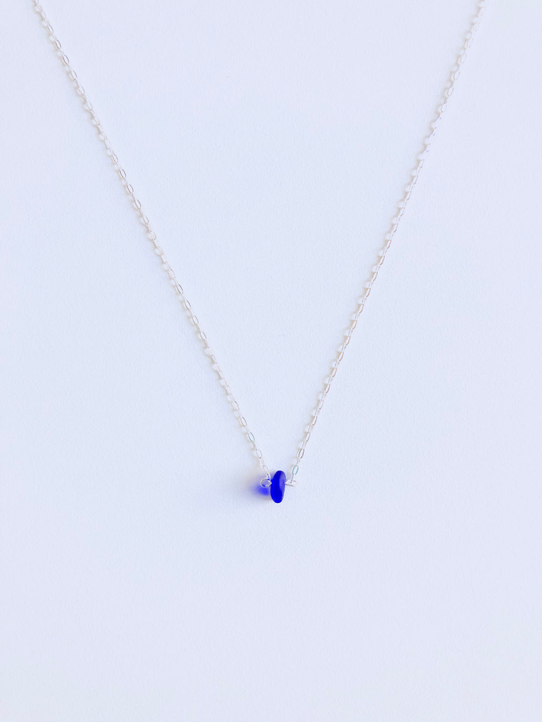 Cobalt Single Sea Glass Necklace