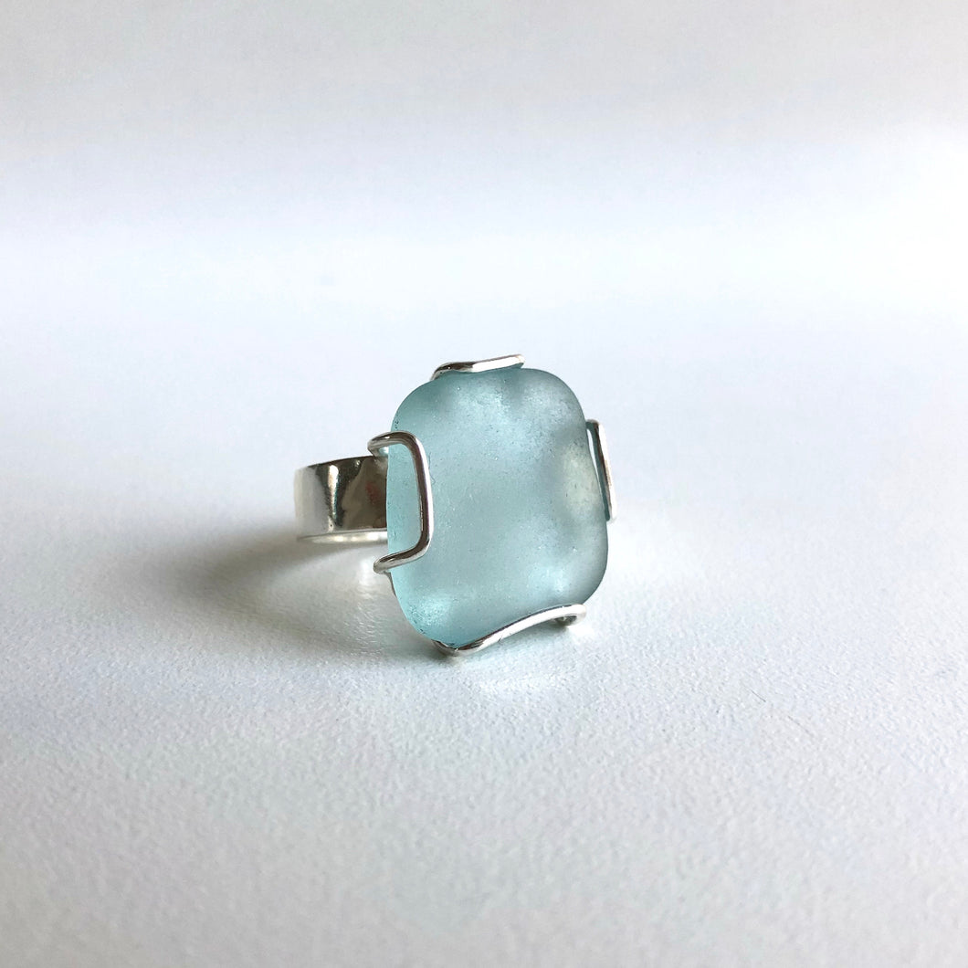 Blue Square Sea Glass Ring