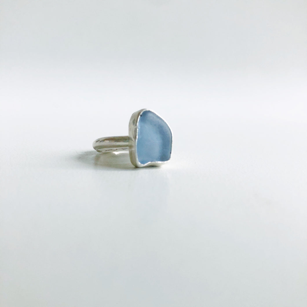 Small Cornflower Sea glass ring