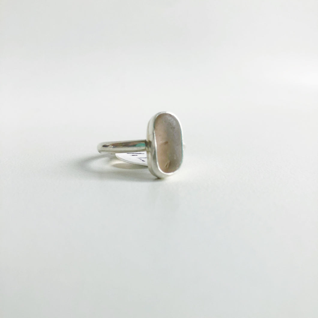 Oblong Peachy Pink Sea Glass Ring