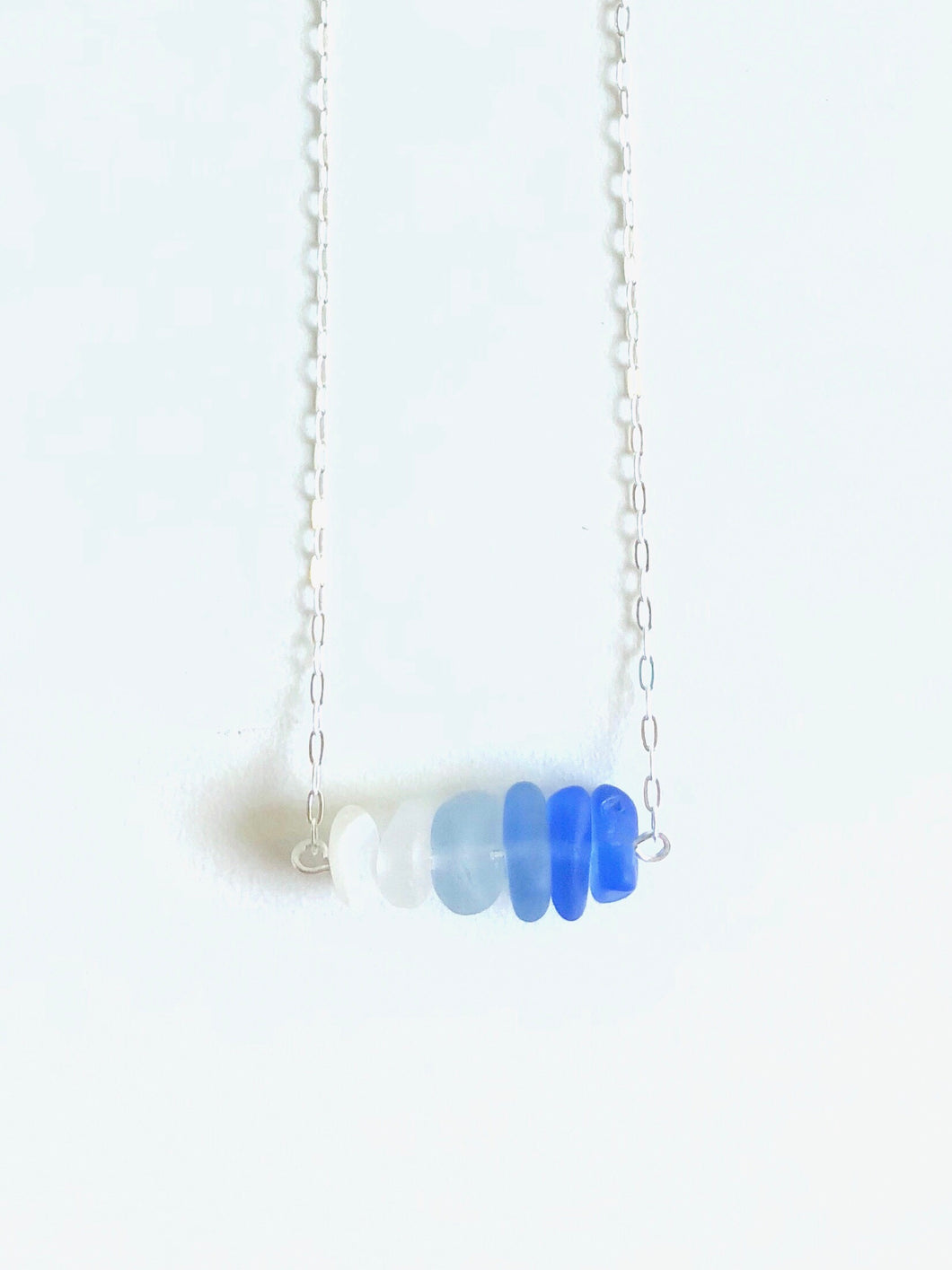 Cornflower Sea Glass Bar Necklace