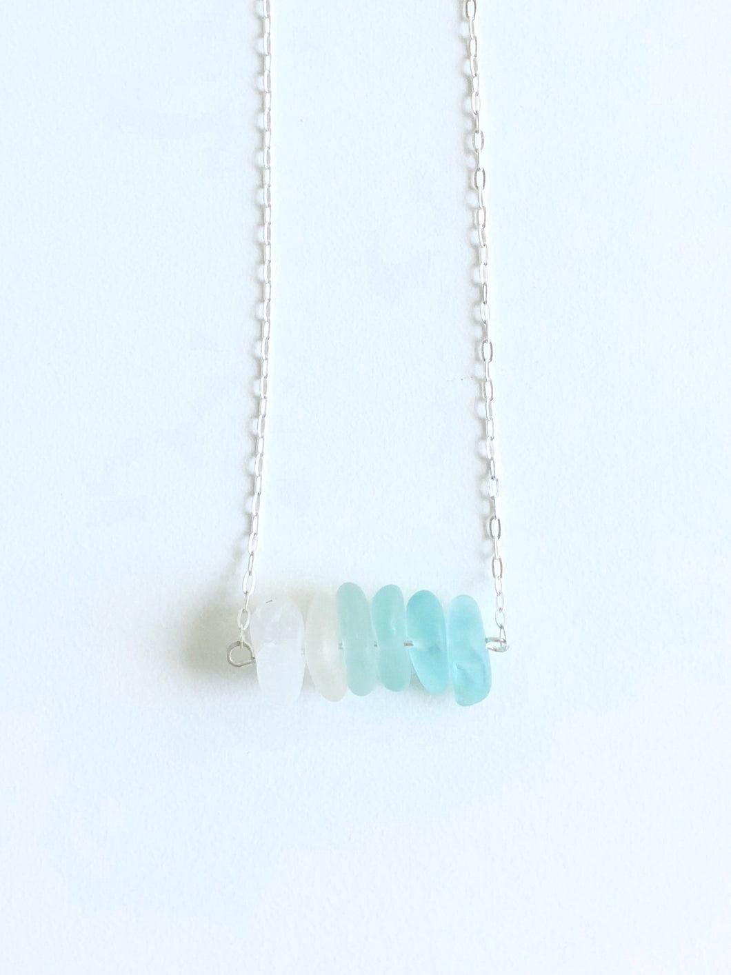 Aqua Ombre Sea Glass Bar Necklace